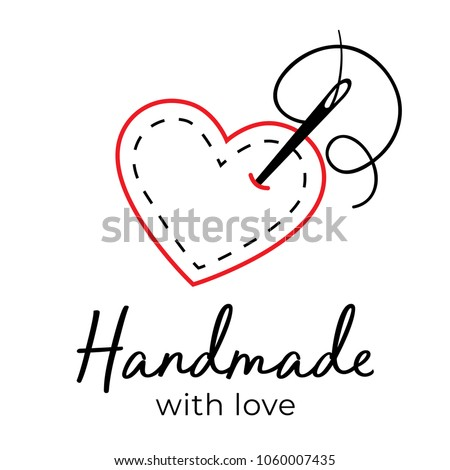Handmade With Love Logo Vintage Vector Needle Going Through Fabric Heart Stitching Sewing