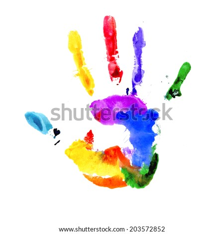 Handprint in colors of the rainbow isolated on white  - stock vector