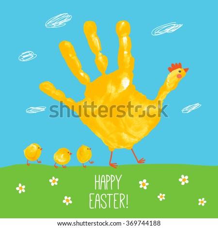 Handprint Mother Hen With Fingerprint Baby Chicks Watercolor Acrylic Kids Easter Art Children