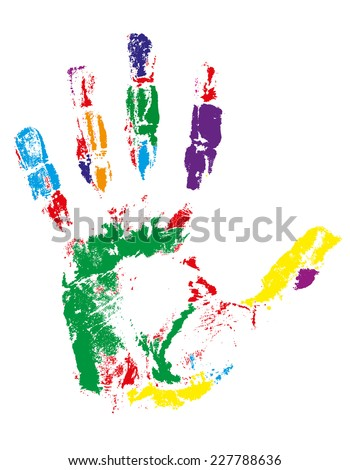 handprint of different colors vector illustration isolated on gray background - stock vector