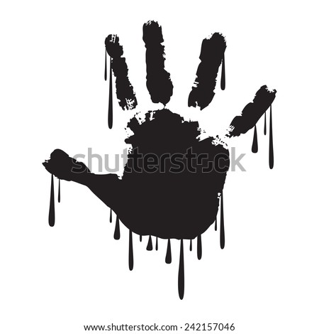 Handprint with dripping paint - stock vector