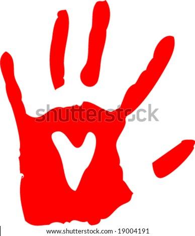 handprint with heart - stock vector
