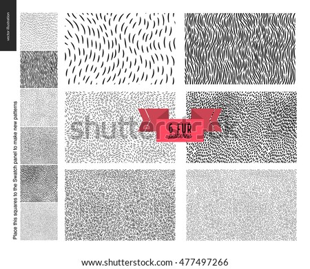 Handrawn patterns set. Fur seamless patterns with an usage example