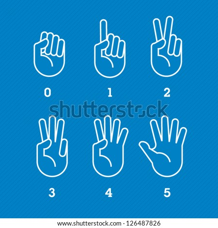 hands and fingers. Numbers countdown - stock vector