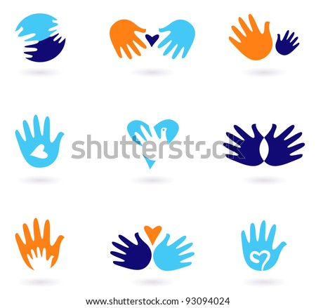 Hands and Love abstract icons collection isolated on white - stock vector