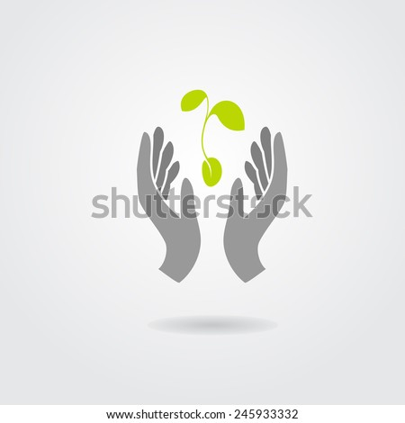 Hands and plant isolated on white background. Vector illustration - stock vector