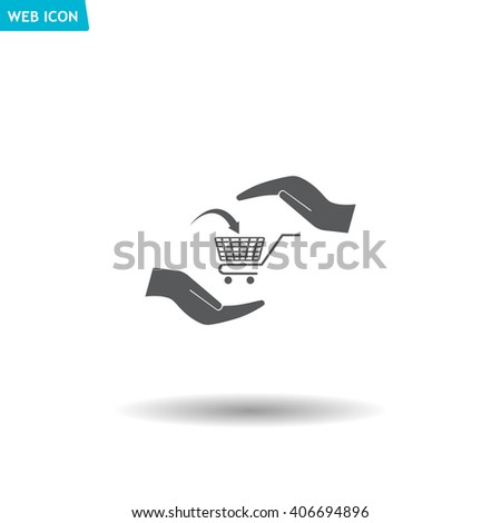 hands and shopping cart, sign purchase protection web icon.