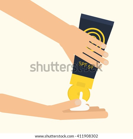 Hands applying sunscreen. Vector illustration for using spf sunblock cream from plastic container. Skin cancer protection. Flat style - stock vector