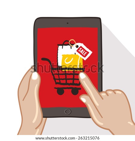 Hands are holding on Tablet Touch screen with shopping icon - freehand drawing vector Illustration - stock vector