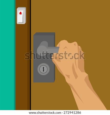 Hands are opening the door - stock vector