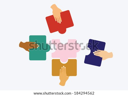 hands assembling jigsaw puzzle and represent team support and help concept. vector illustration - stock vector