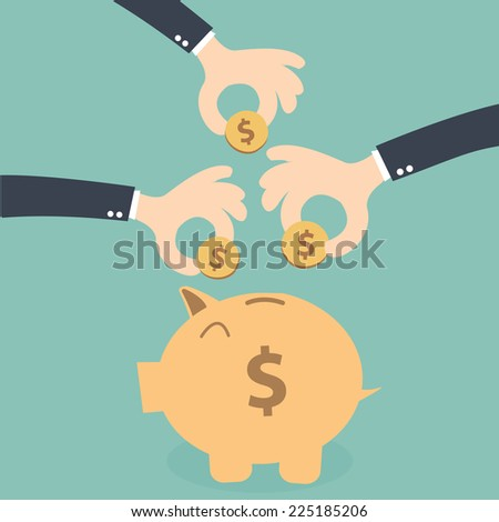 Hands business together  saving money on the piggybank  - stock vector