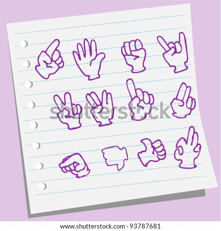 Hands collection doodle illustration - stock vector