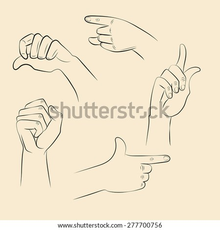 Hands design at different angles and grips for signs, labels, stickers, posters and other design needs.