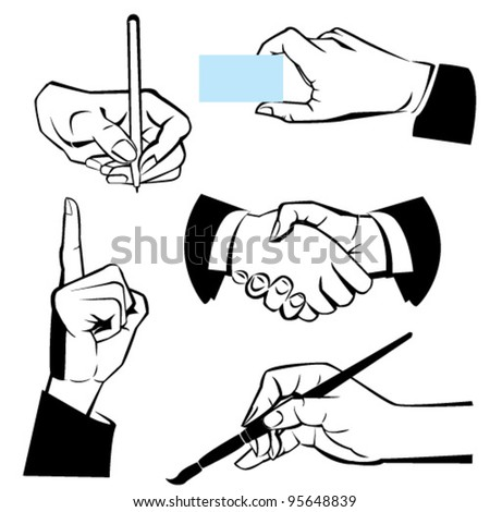 hands - different gestures. Black and white illustration - stock vector