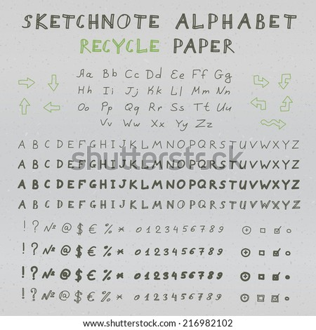 Hands drawing sketchnote alphabet on recycle paper. Vector set of letters, numbers and symbols