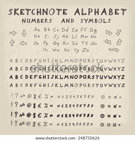 Hands drawing sketchnote alphabet. Vector set of letters, numbers and symbols - stock vector