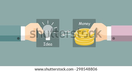 Hands exchange cards with the image of money and ideas. Vector illustration. - stock vector