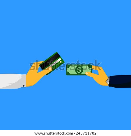 Hands exchange payment or money in the bank card business concept vector illustration - stock vector