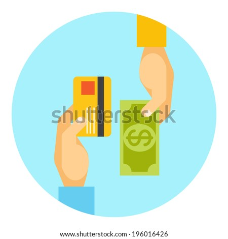 Hands exchanging payment or money in business concept with the hands of two men  one holding a bank card and the other a cash banknote  in a round icon  vector illustration - stock vector
