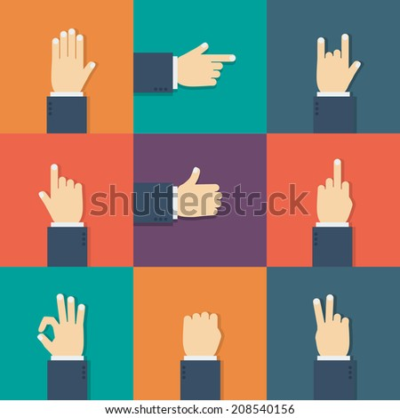 Hands flat icon. Vector illustration for your startup. - stock vector