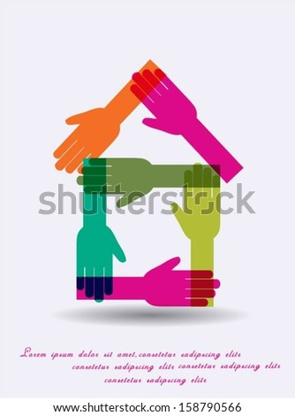 Hands forming a house design. - stock vector