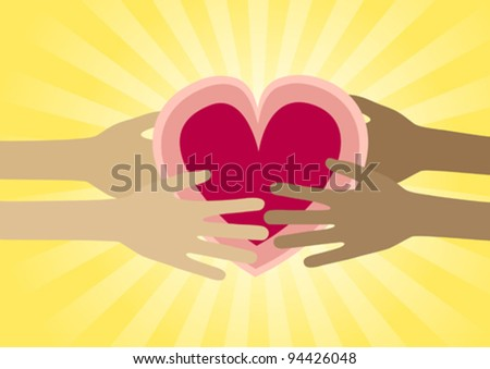 Hands generously sharing a heart - stock vector