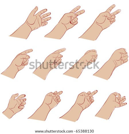 hands gesture against white background, abstract vector art illustration - stock vector