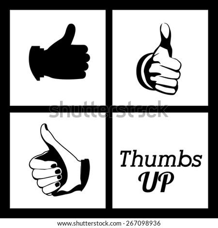 Hands gesture design over black background, vector illustration - stock vector