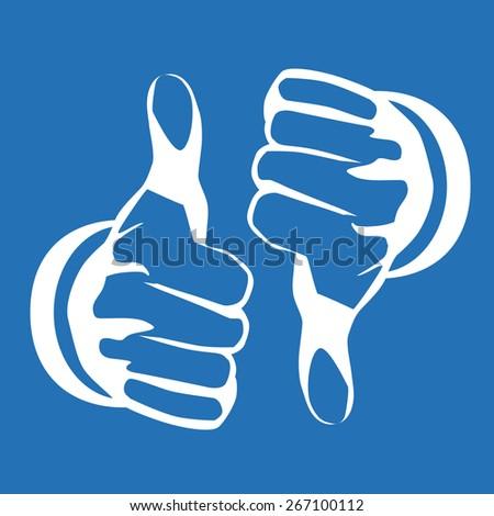 Hands gesture design over blue background, vector illustration - stock vector