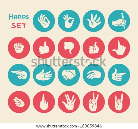 Hands gestures flat icons set of ok warning stop and pointing body language signs isolated vector illustration - stock vector
