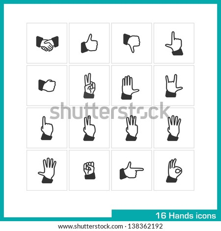 Hands gestures icon set. Vector black pictograms for web, mobile apps, interface design: handshake, like, thumb down, touch, fist, peace, palm, rock, one, two, three, four, five, pointing, ok symbol - stock vector