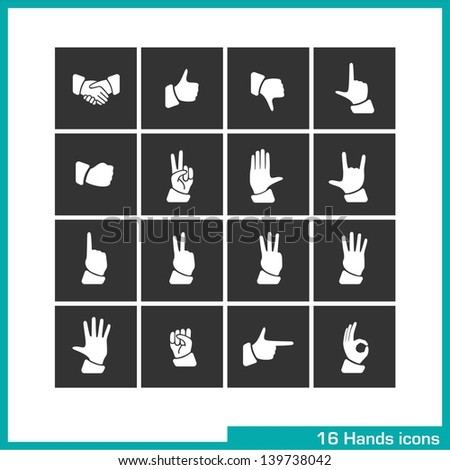 Hands gestures icon set. Vector white pictograms for web, mobile apps, interface design: handshake, like, thumb down, touch, fist, peace, palm, rock, one, two, three, four, five, pointing, ok symbol - stock vector