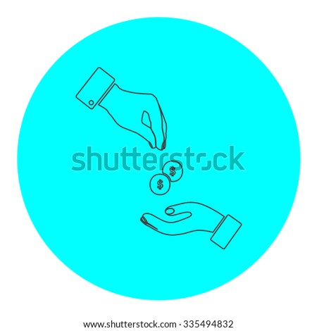 Hands Giving and Receiving Money. Black outline flat icon on blue circle. Simple vector illustration pictogram on white background - stock vector