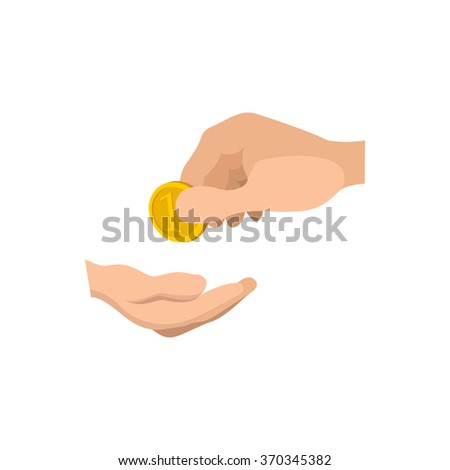 Hands giving and receiving money cartoon icon. Money charity on a white background - stock vector