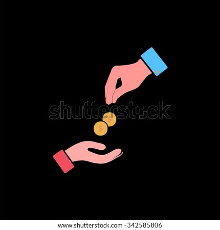 Hands Giving and Receiving Money. Color vector icon on black background - stock vector