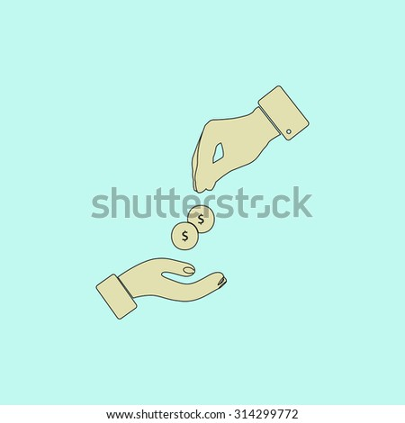 Hands Giving and Receiving Money. Flat simple line icon. Retro color modern vector illustration pictogram. Collection concept symbol for infographic, logo and project - stock vector