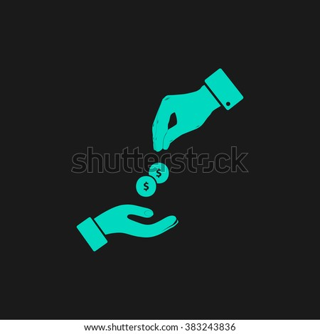 Hands Giving and Receiving Money. Flat simple modern illustration pictogram. Collection concept symbol for infographic project and logo - stock vector