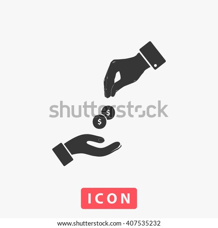 Hands Giving and Receiving Money. Grey flat simple icon - stock vector