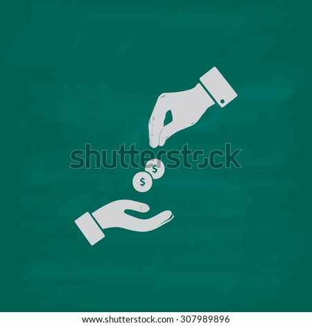 Hands Giving and Receiving Money. Icon. Imitation draw with white chalk on green chalkboard. Flat Pictogram and School board background. Vector illustration symbol - stock vector