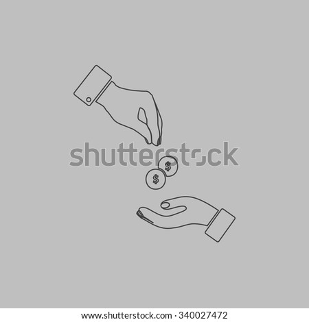 Hands Giving and Receiving Money. Outlne vector icon on grey background - stock vector