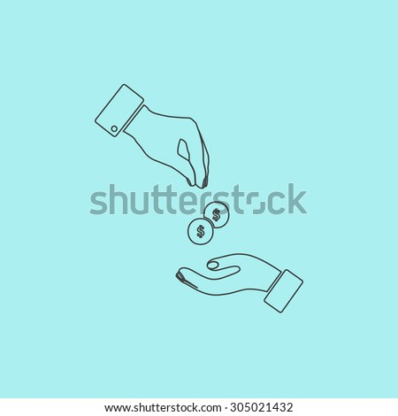 Hands Giving and Receiving Money. Simple outline flat vector icon isolated on blue background - stock vector