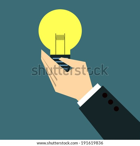 Hands Giving bulb - stock vector
