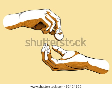 Hands Giving & Receiving Money (Colored version) - stock vector