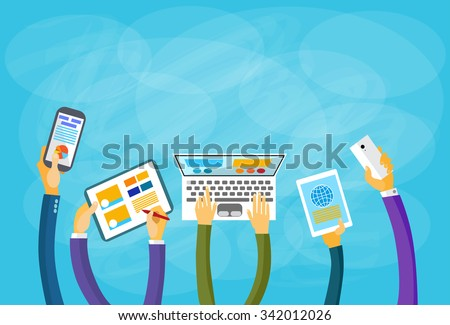 Hands Hold Device Electronics Gadget Concept Laptop Phone Tablet Flat Vector Illustration - stock vector