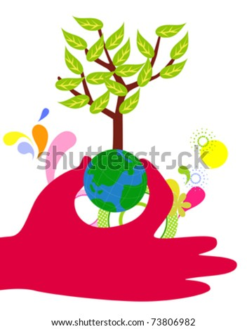 hands hold the globe tree - stock vector