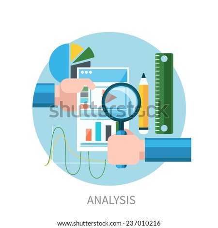 Hands hold web site tablet PC with graphs. Market analysis flat design - stock vector