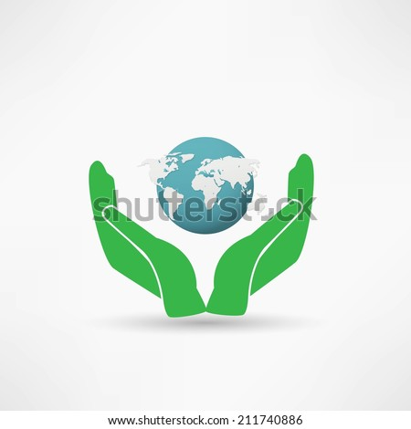 Hands holding a blue earth - stock vector