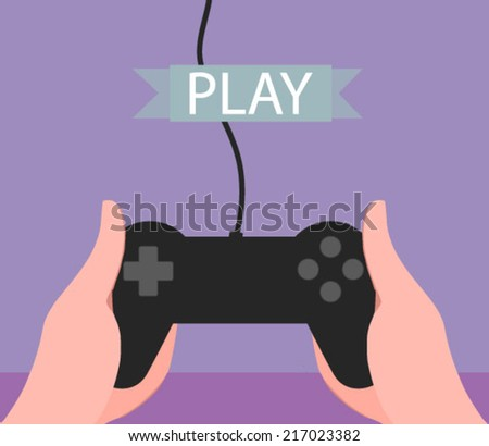 hands holding a gaming controller - flat design vector  - stock vector