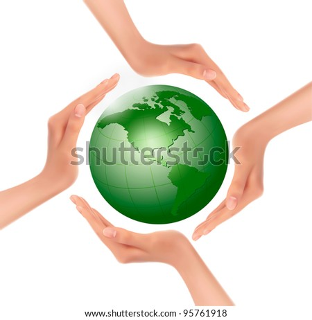 Hands holding a green earth. Vector. - stock vector